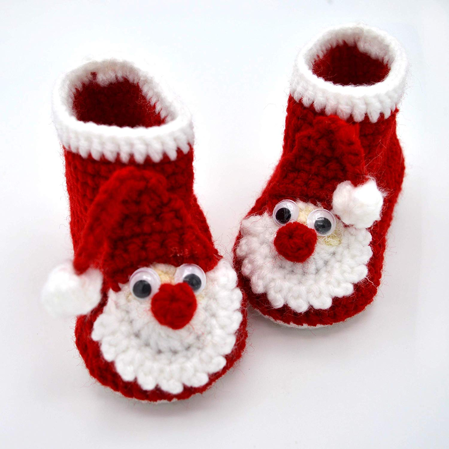 e83f67af36fcd Get Quotations · Christmas Booties, Red Baby Boots, Crib Shoes for Infant  or Newborn, Baby Shower