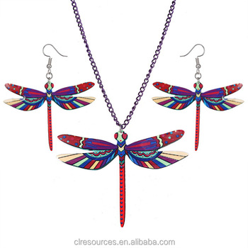 Hot Selling Jewelry Dragonfly Cartoon Resin Printing Necklace