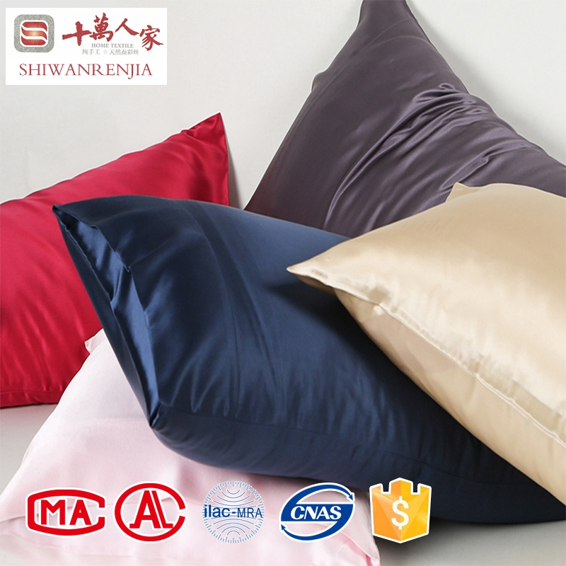 Wholesale 100% pure silk pillowcase plain dyed mulberry silk stain fabric pillowcase / pillow cover