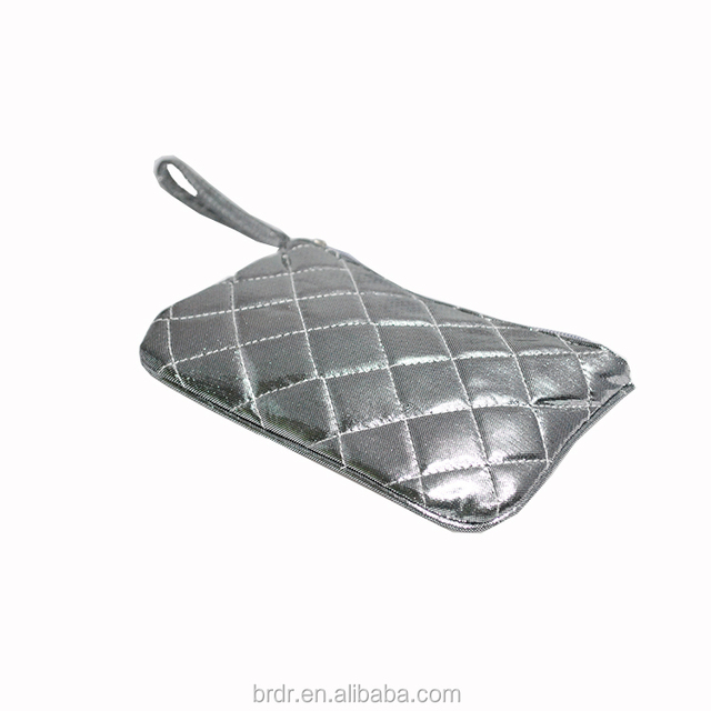 51b84ac2fa 2015 Factory Bulk Wholesale Silver Checked Pattern Women Cosmetic Bag with  Hand Strap