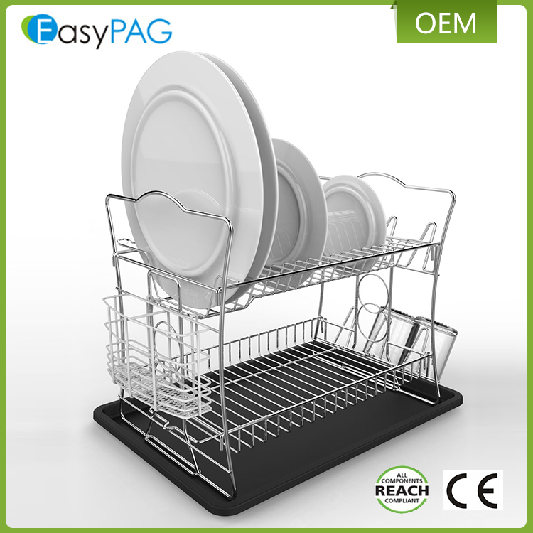 EasyPAG kitchen new product 40.5X31X34.5CM silver 2 tier dish rack drainer