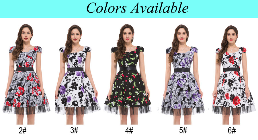 1d1da451b2ef Grace Karin Mature Ladies Cap Sleeve Retro Vintage Style Cotton Summer  Dresses CL4598-1