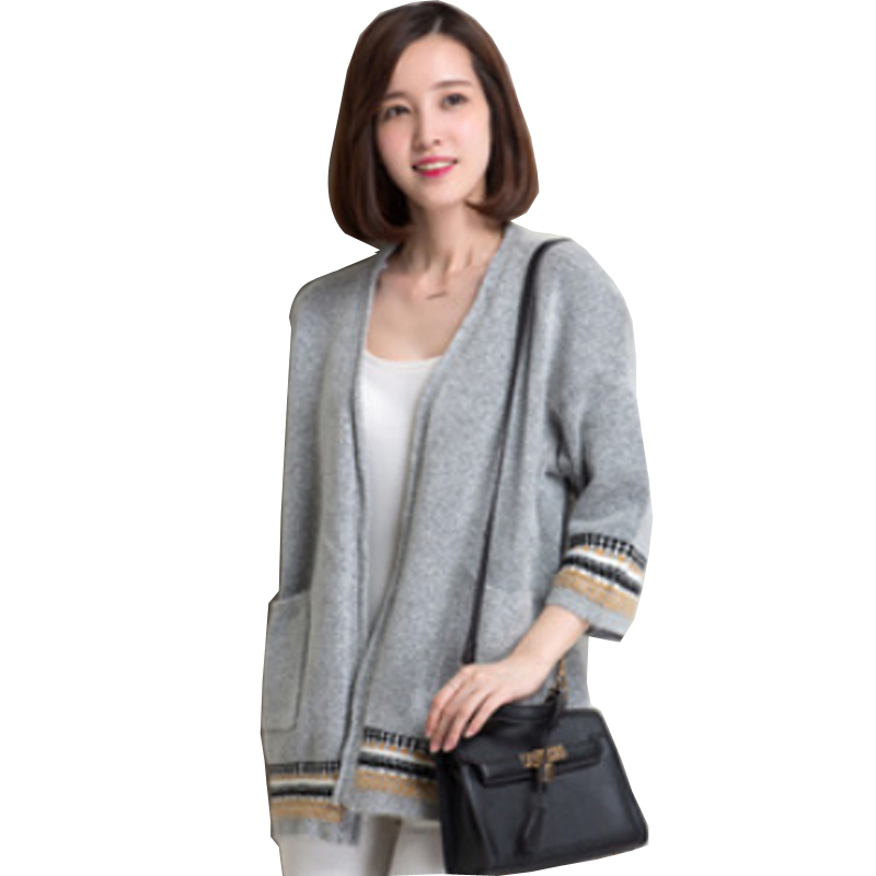 Autumn 2015 Fashion New European Style Knitted Cardigan Women Half Sleeve Sweater Coat Printing Long Cardigans Feminino V-Neck