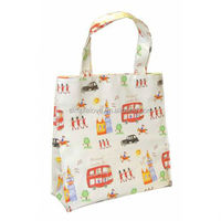 New Fashion London City Printed Cotton Coated Snap Button Clear Pvc Medium Gusset Shopper Pvc Tote Bag