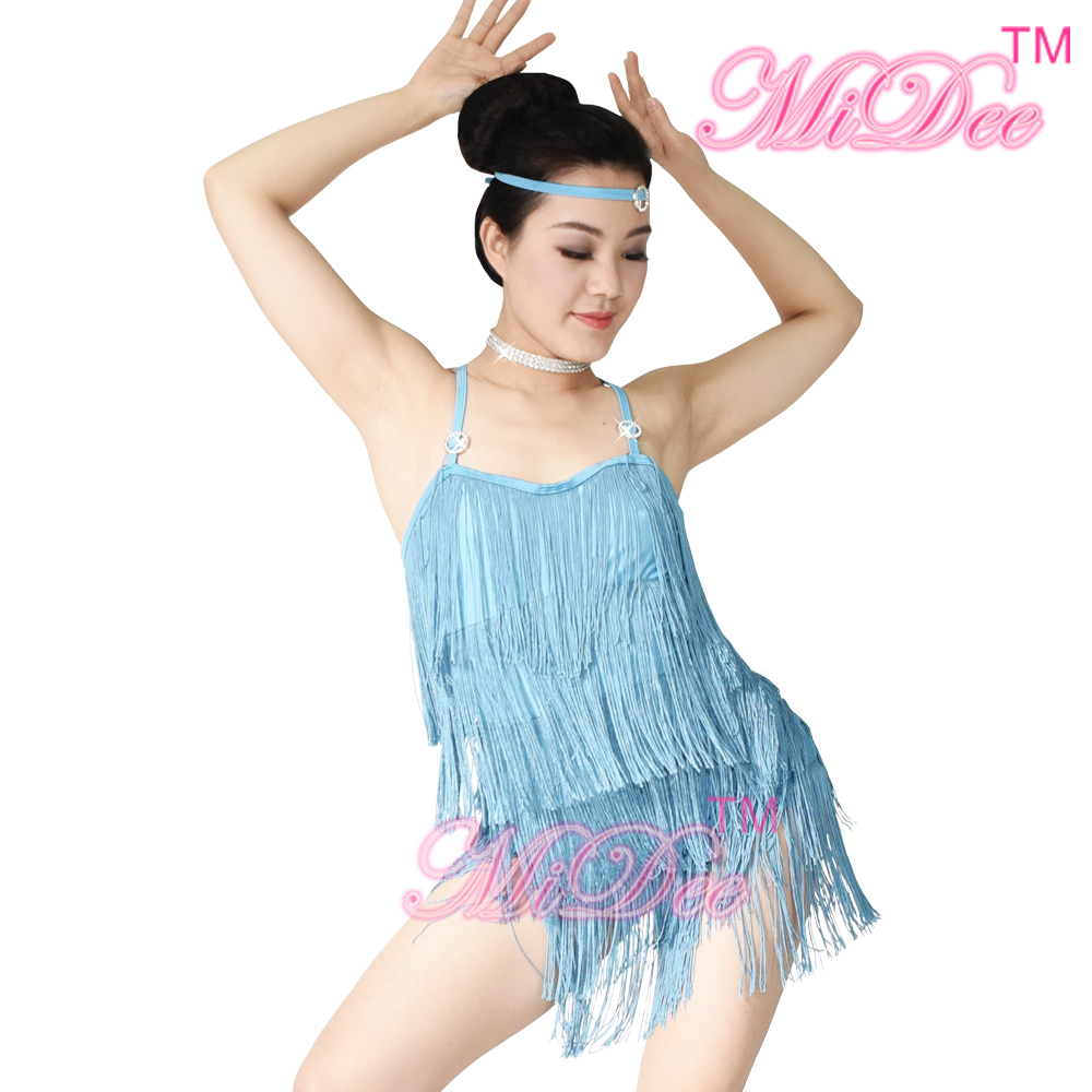 MiDee Lyrical Dance Costume Dress Latin Tassel Dance Dress For Women