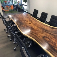 Coffee Garden Outdoor Solid Walnut Wood slab Frame office conference table