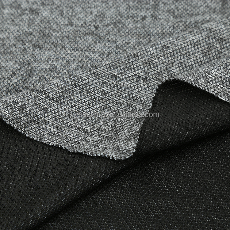 Polyester rayon spandex brushed double knit fabric for winter garment