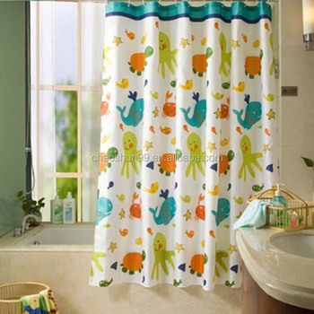 Color Changing Printed Shower Curtains Set