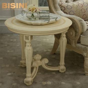 Bisini Ivory Cream Color Antique Wooden Hand Carved Fancy Round Coffee Table    BF07 10135
