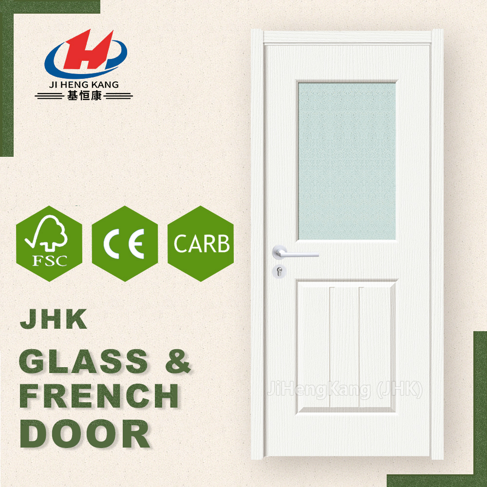 JHK- G31 Cheap Lowes Modern Single Frosted Glass Interior Solid Wooden Doors