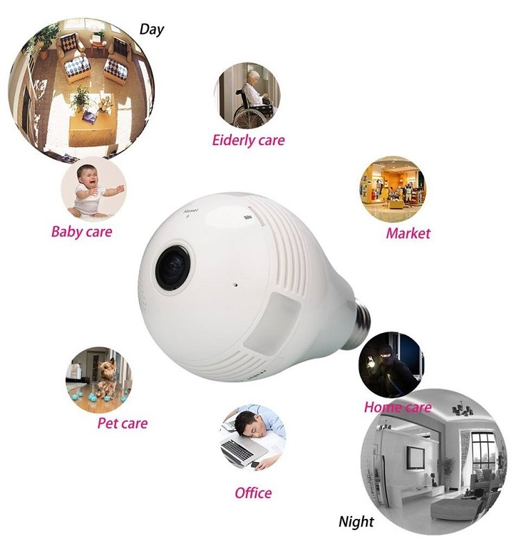 360 Degree HD Fisheye WiFi Hidden Wireless IP Camera