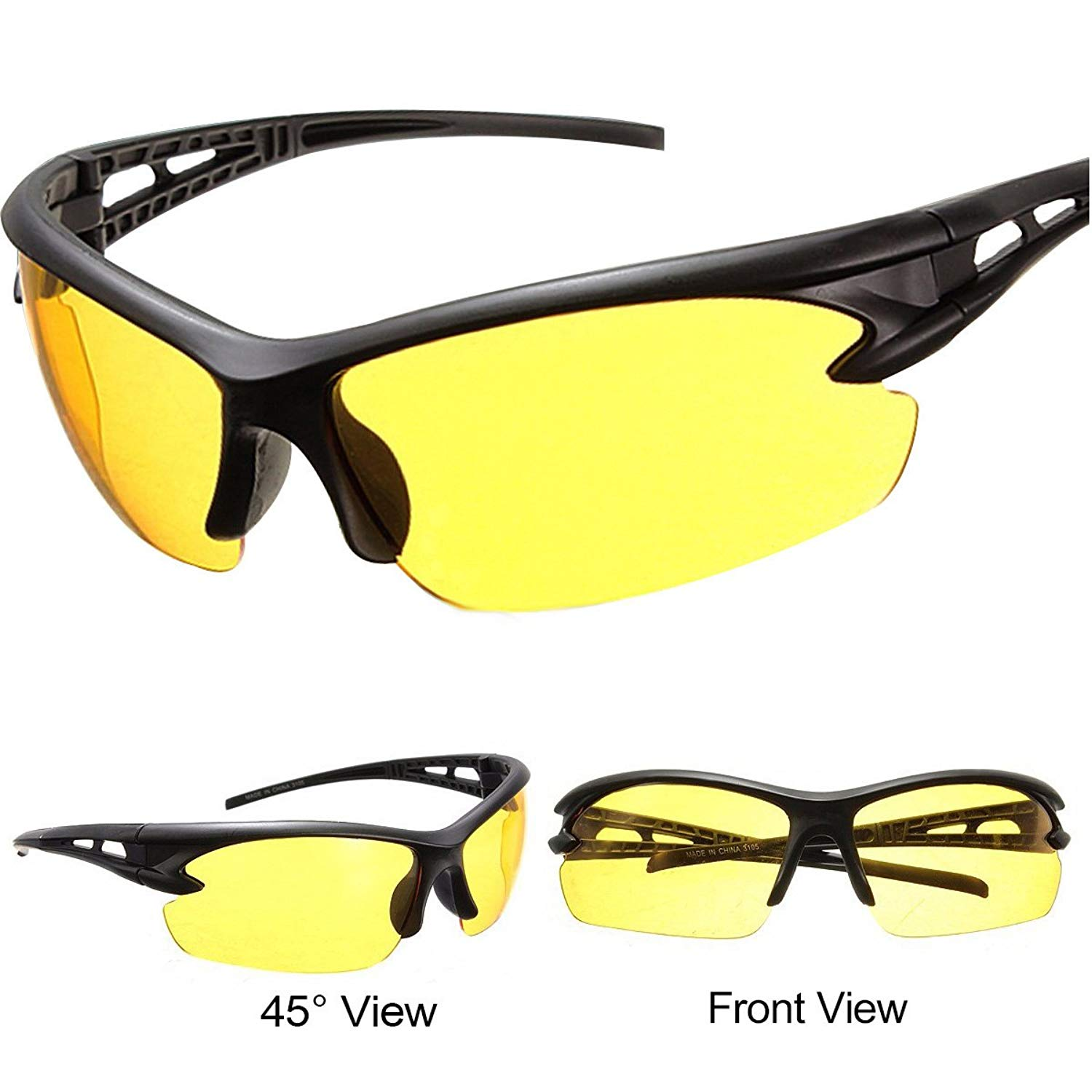 838e8fda66f4 Get Quotations · Night Driving Glasses for Men and Women Safety Sunglasses  with HD Yellow Lens Plastic Frame Anti