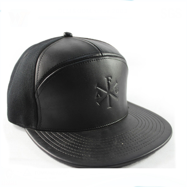Blank 6 panel custom made leather strap snapback hat wholesale