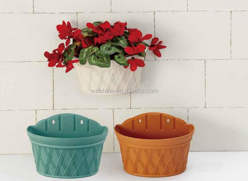 How To Make Round Hanging Flower Baskets : Half round hanging basket flower pots plastic wall