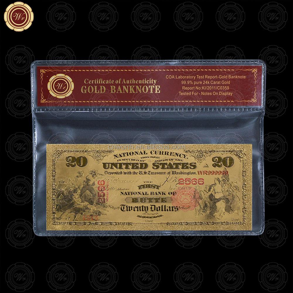 WR colored 20 dólares billetes regalos Ideas lámina de oro puro ee ...