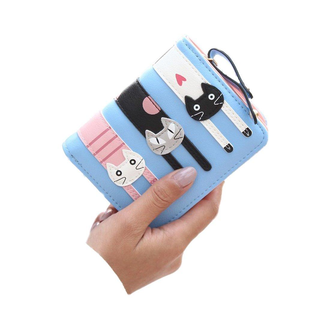 Women Wallet - SODIAL(R)New Fashion Women Cat Wallet Cartoon purse Female Card Holder Lady clutch coin purse Female zipper(Short Light Blue)
