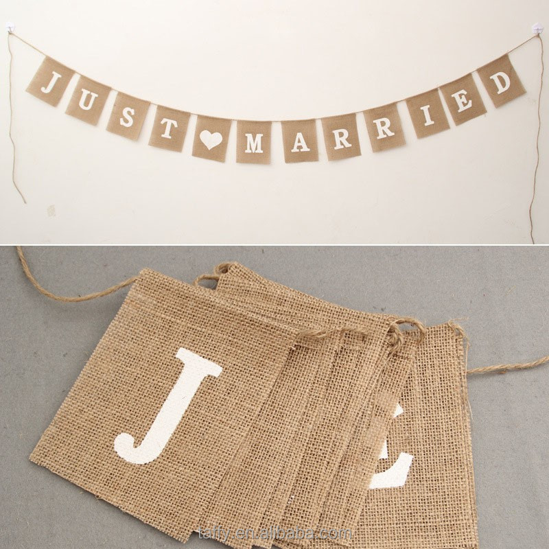 2017 NEW weding party decor VINTAGE shabby CHIC HESSIAN BURLAP RUSTIC JUST MARRIED WEDDING BANNER BUNTING garland photo prop