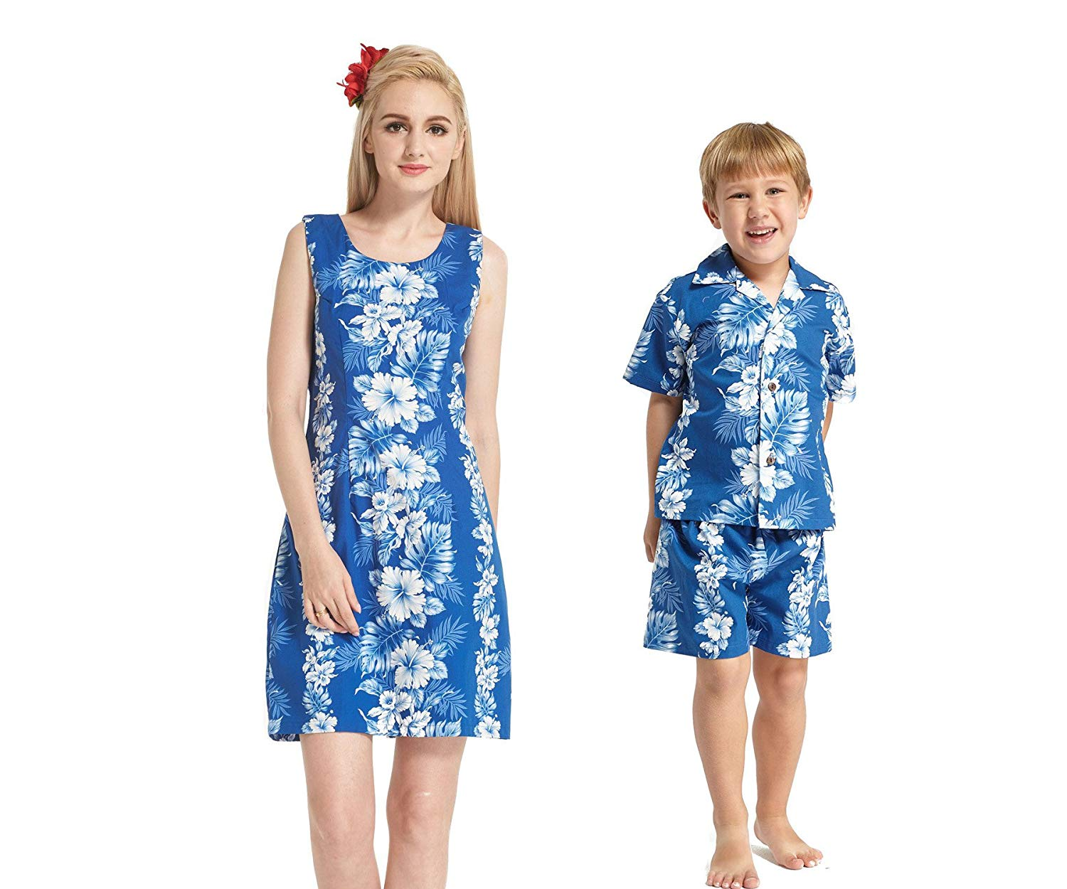 da64684464df Get Quotations · Made in Hawaii Matching Mother Son Dress Shirt Cabana Set  in Line Floral