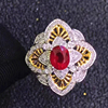 thailand marcasite jewelry 18k gold South Africa real diamond natural unheated ruby ring for women mothers ring