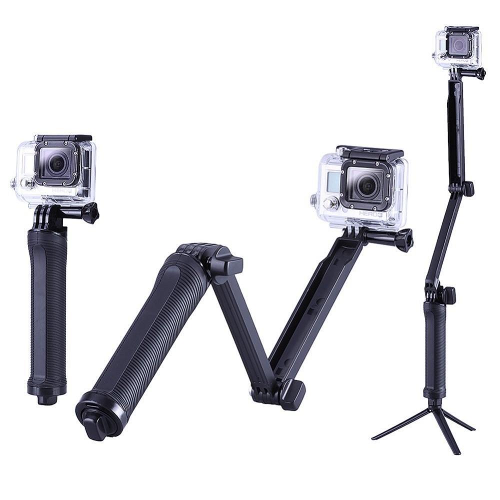 3-полосная GoPro Монопод + Штатив + Ручка Супер Портативный Магия Крепление для xiaomi yi GoPro Hero4/3 +/3 + 2 SJ4000 Gopro аксессуары