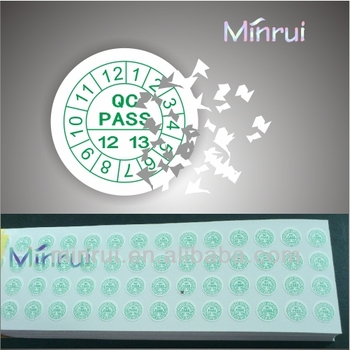 Custom qc pass tamper evident stickers for calibrationwarranty stickers with dates