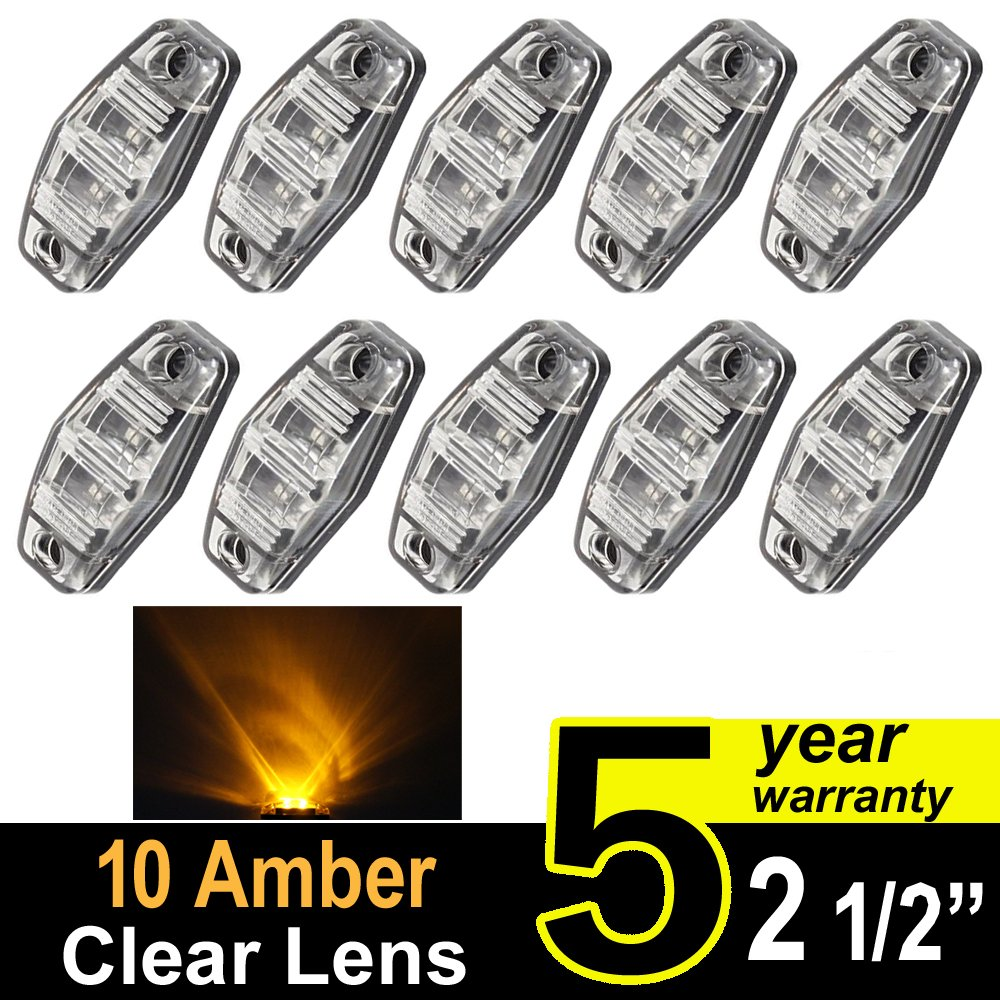 "10 pcs TMH 2.5"" 10 pcs Clear Lens Amber Light Super Flux Side Led Marker, Trailer marker lights, Led marker lights for trucks, RV Cab Marker light Red, Surface Mount LED"