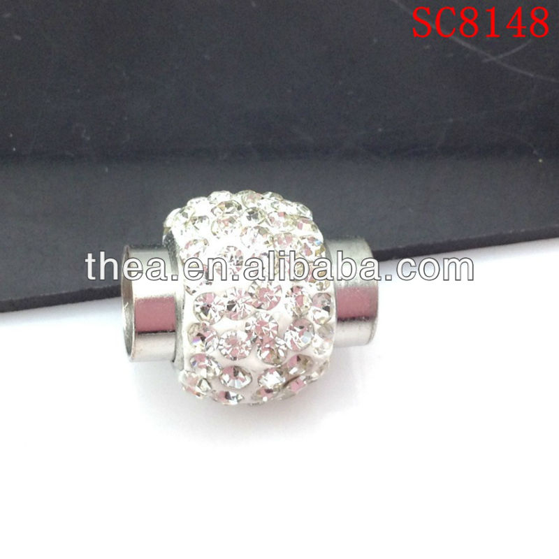 SC8148 white clay ball Rhinestone metal accessory magnetic clasp tube for fashion jewelry