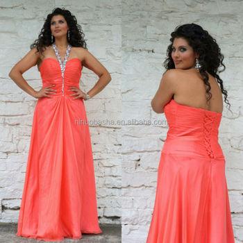 2014 Coral Plus Size Evening Dress Beaded Halter Neck Floor-length ...