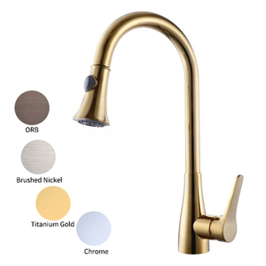 cUPC NSF Titanium Gold Brass Pull Down Kitchen Faucet with Retractable Pull Out Wand