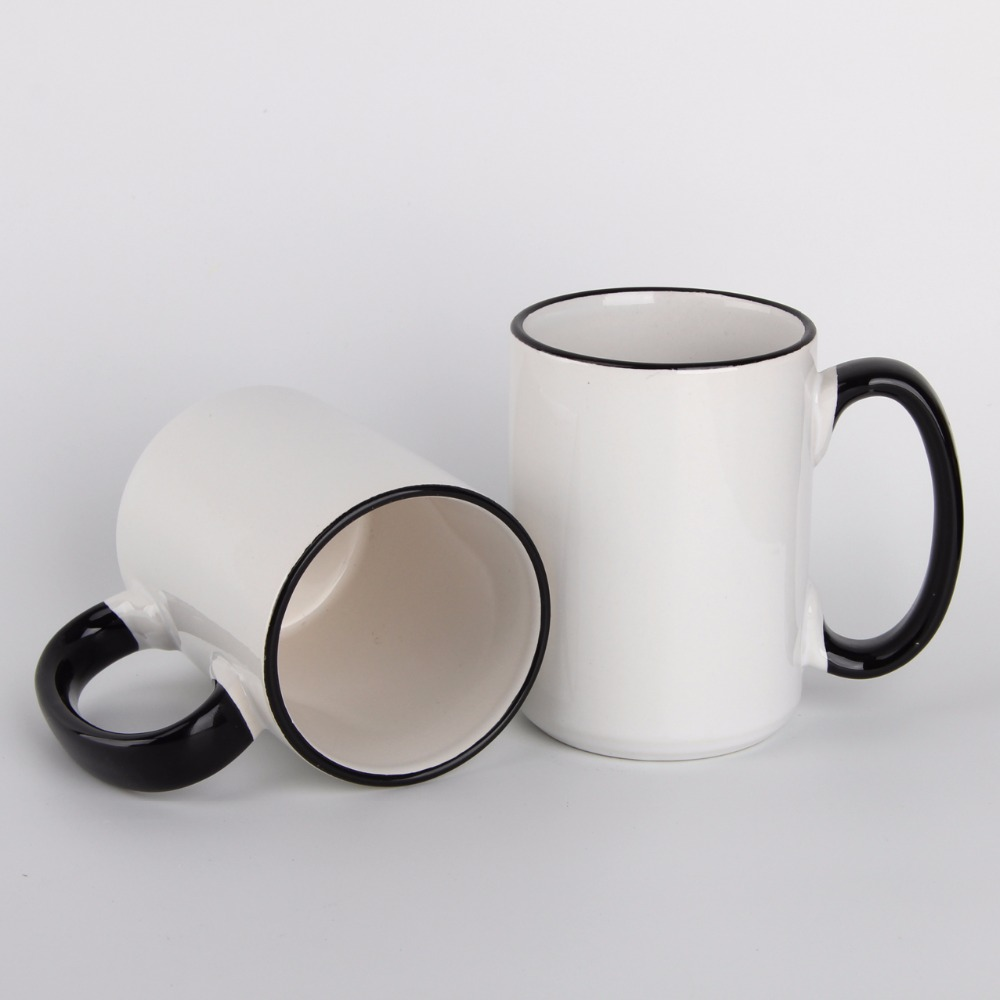 15oz Coffe Cup Tea China Wholesale Custom Logo Printing White Blank Porcelain Mug with Handle and Rim Color for Sublimation