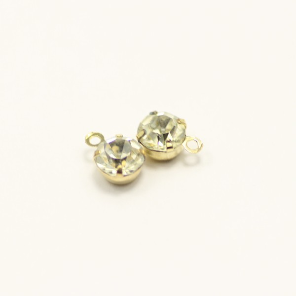 gold color nickle free 6mm rhinestone crystal charm