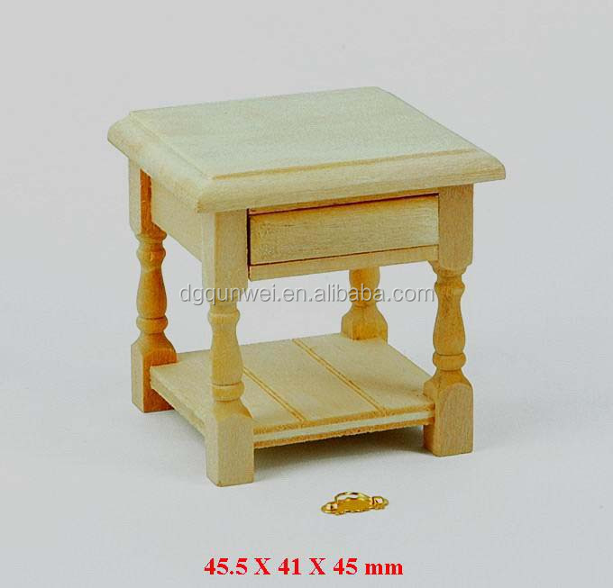 1/12 Scale Dollhouse Miniature Wooden Square Table Wood Tea Table Wood End Table With Drawer QW60149
