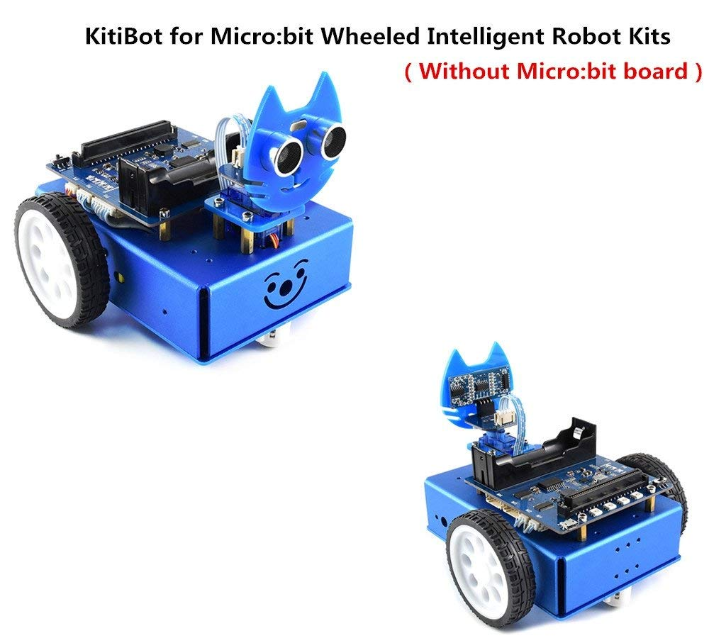 Pzsmocn Entry-Level KitiBot for Micro:bit Wheeled Intelligent Robot Kits¨Without Micro:bit board Bluetooth/Accelerometer/Electronic Compass/3 Buttons/5x5LED dot Matrix,Tracking,Obstacle Avoidance