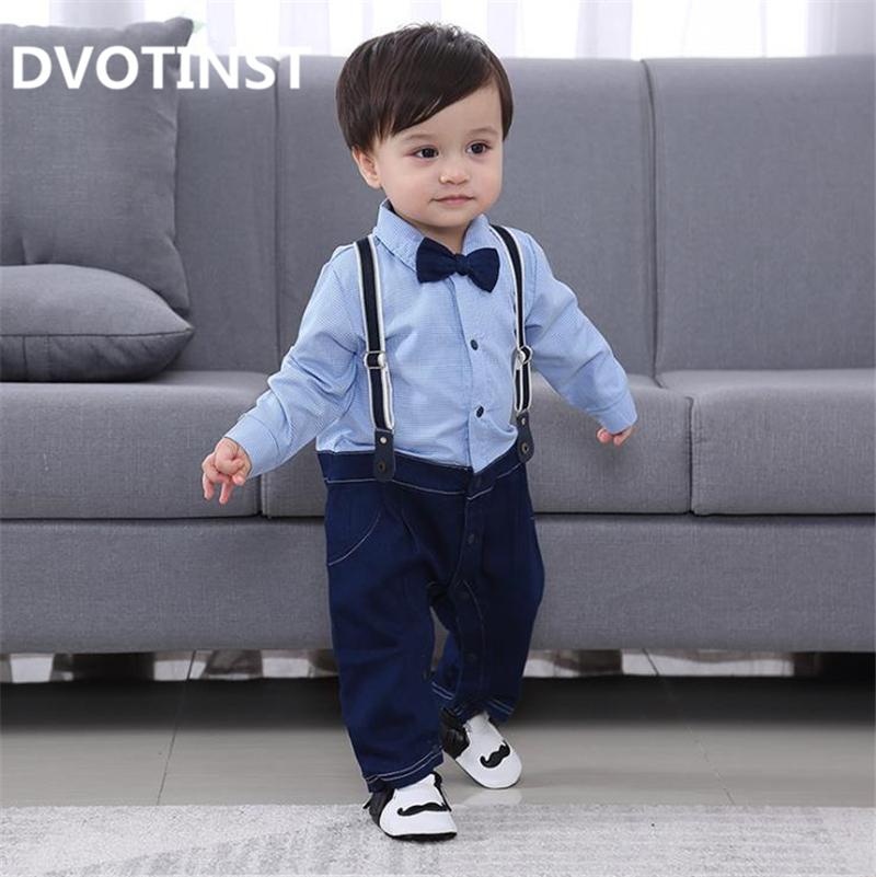 079782484a8f9 2019 Dvotinst Baby Boy Clothes Full Sleeves Gentleman Bow Tie Romper ...