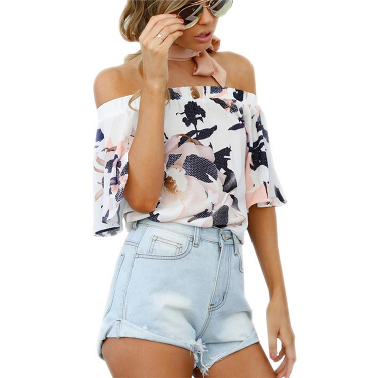 <strong>Women</strong> Short Sleeve Print Tops Off Shoulder Tops Chiffon Printed Ladies Blouse Design Shirt High Quality