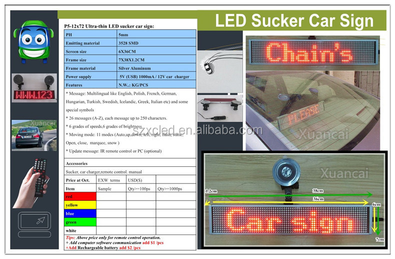 "CE RoHS approval LED car sign P5-12x48 (2.8""x10"" inch) size 26cm x7cm ultra-thin LED sign"