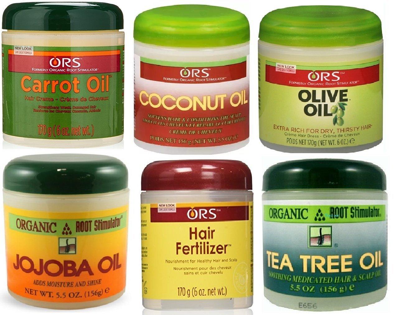 Ors Organic Root Stimulator 6pcs Jar Pomade Set Coconut Oil Olive Jojoba