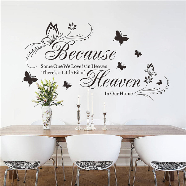 Simple Design Because Heaven Butterfly English Waterproof Bedroom Mural Wall Sticker DIY Home Decoration Wall Bathroom Dorm