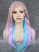 Straight Dreadlocks Wig Synthetic Mixture Color Hair Lace Front ...
