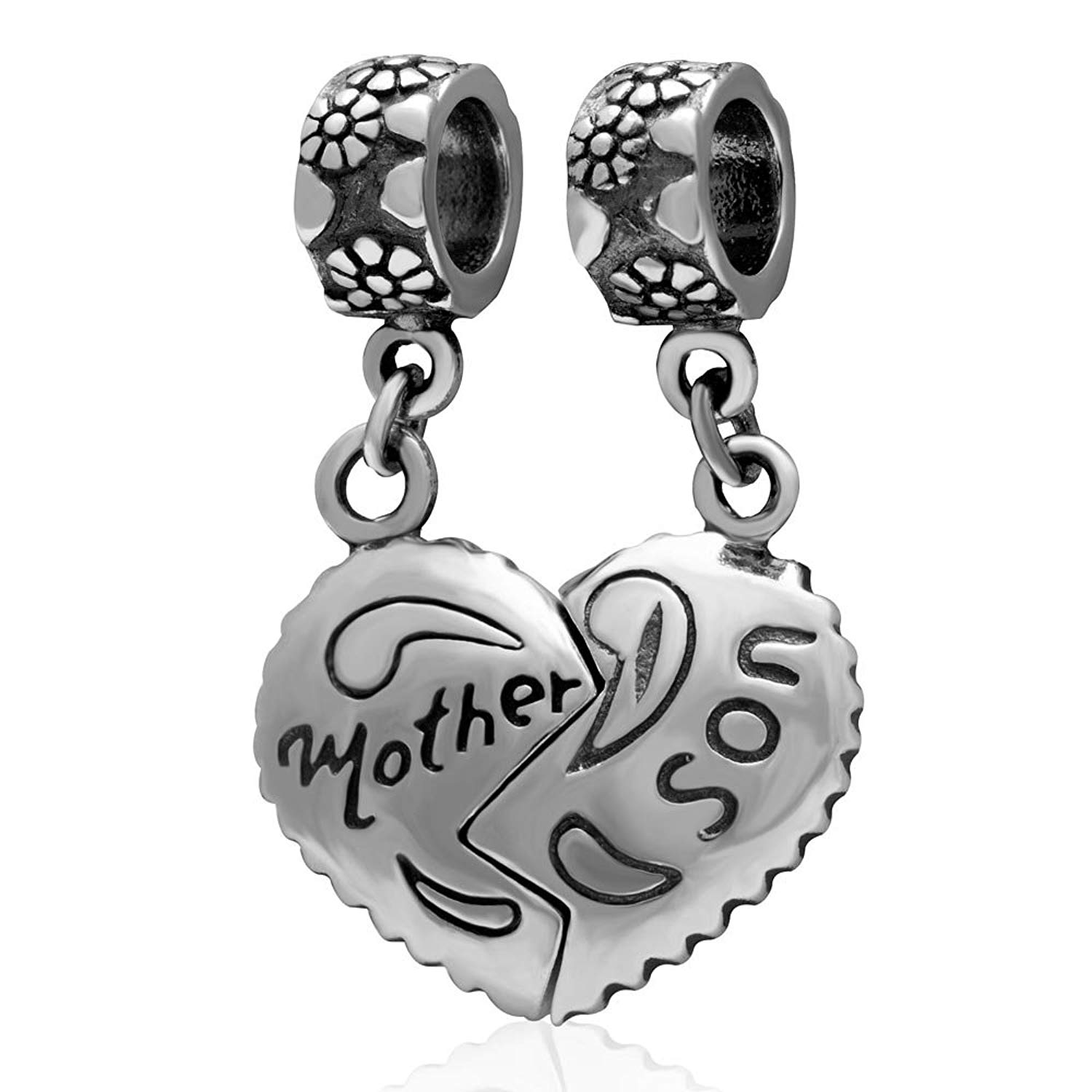 925 Sterling Silver Dangling Son Heart Charm Bead 3345 TWO PIECE Mother