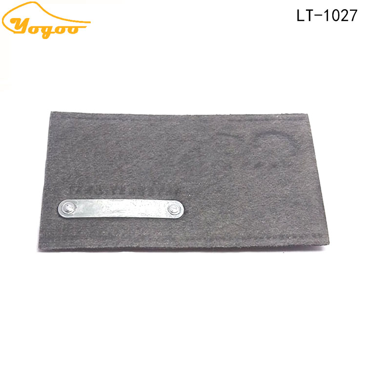 Popular Custom Design Branded Logo Debossed Rectangle Metal Fake Leather Patch