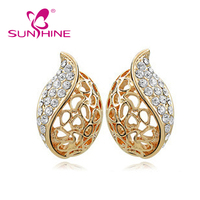 New 2017 European jewelry set hollow Acacia Leaf Earrings Pendants Set Imitation Gold Plated Earring necklace
