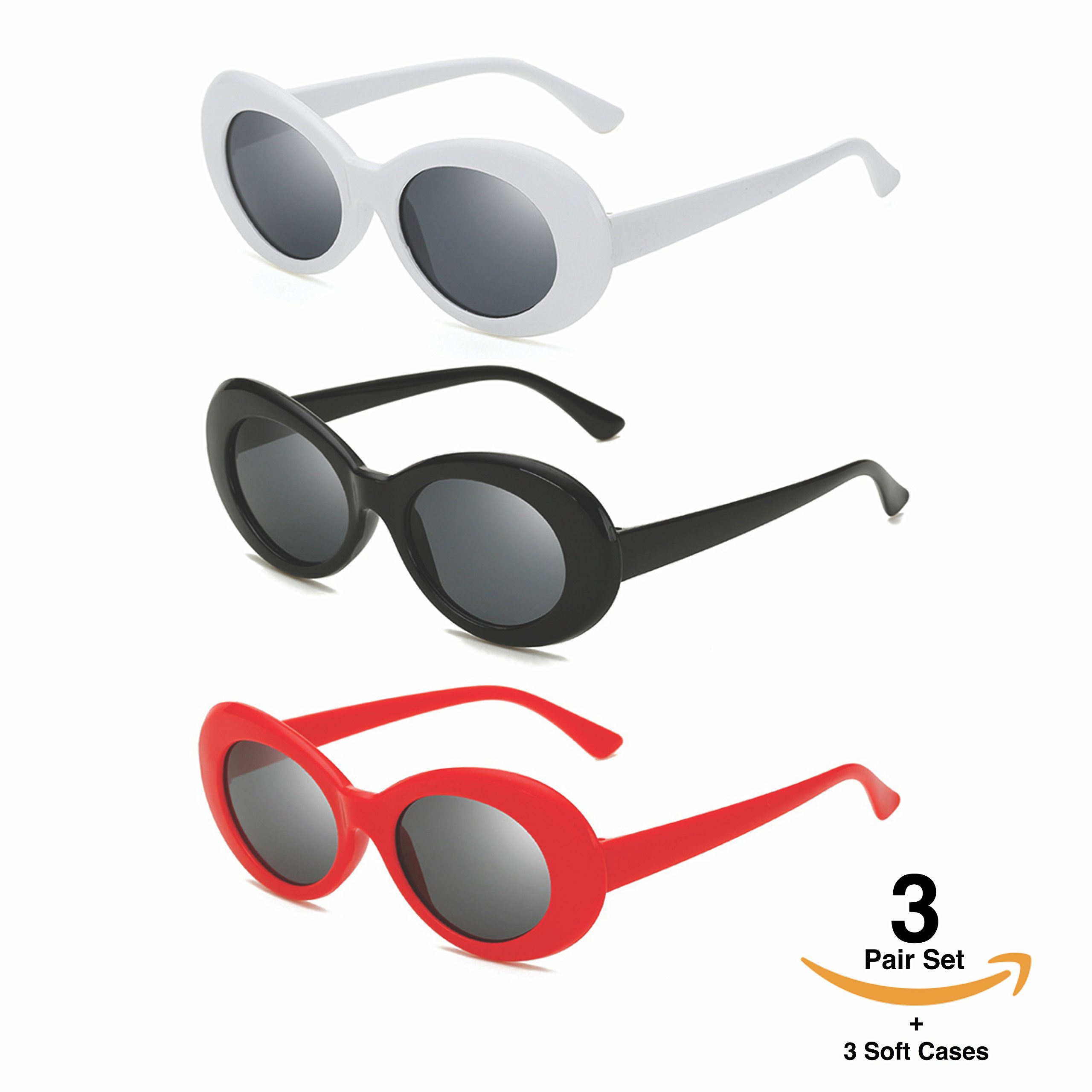 ac48f7b58b Hype N Clout Clout Goggles Set With Soft Cases- Kurt Cobain Oval Sunglasses  White