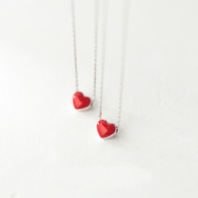Hot Sell 은 Cute Heart 펜 던 트 Necklace 씬 3D Red 멜 Heart 925 Silver Necklace 대 한 Valentine