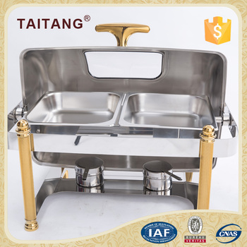 Kitchen equipment commercial restaurant used chafing dishes gold