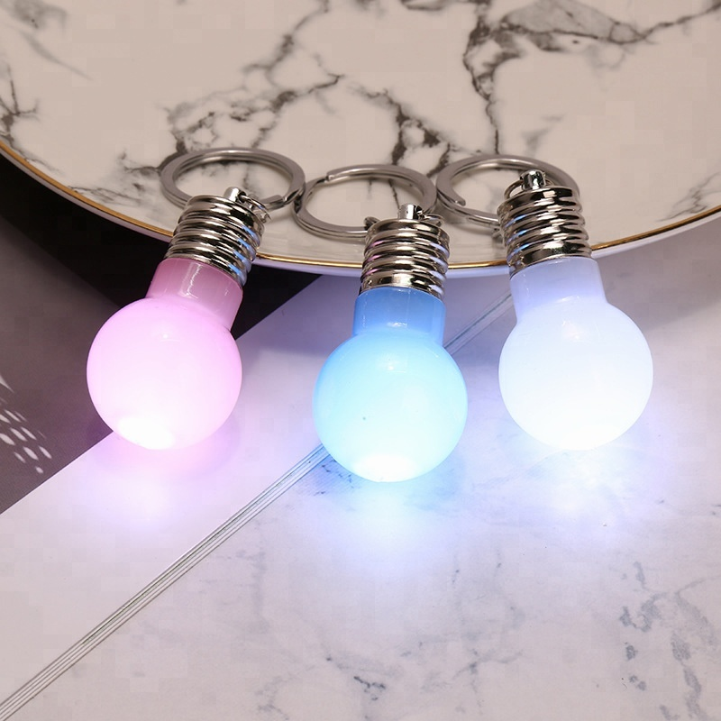 Promotional <strong>Gifts</strong> New Design Fashion <strong>Cute</strong> LED Colorful Lighting Bulb Shape Key Ring Key Chain