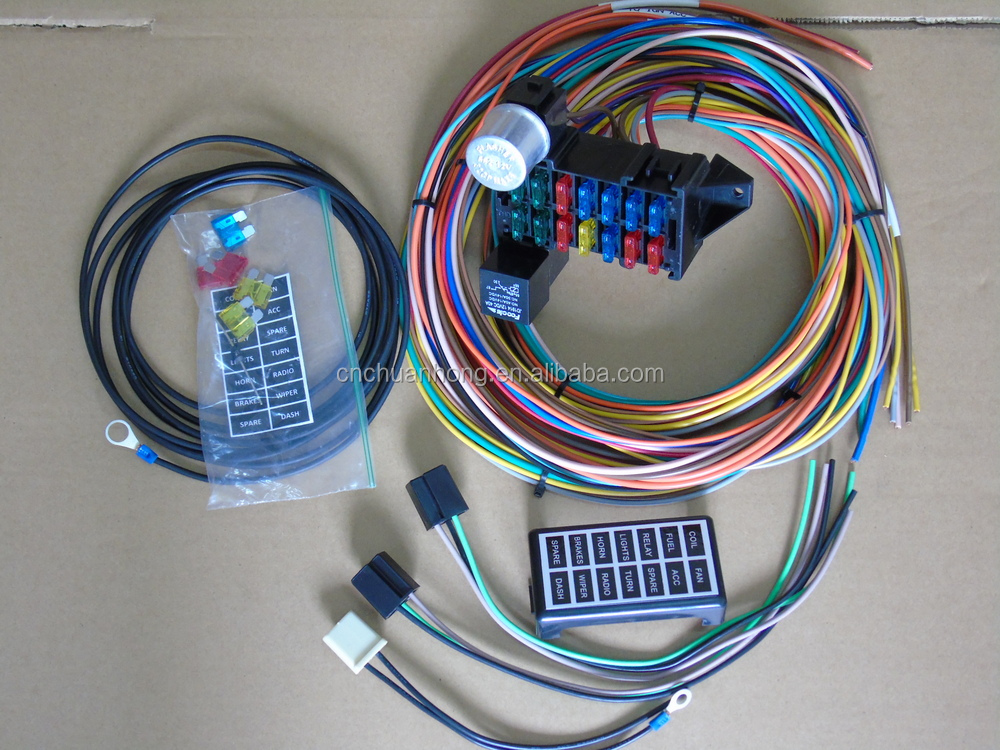 HTB12b2jHFXXXXXSXVXXq6xXFXXXQ cnch new 14 circuit basic wire kit small wiring harness for rat street rod universal 14 fuse 12-14 circuit wire harness at bayanpartner.co