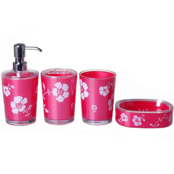 Elegant Bathroom Rose: 4pcs/set Double Wall Luxurious Gold Red Purple Elegant