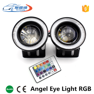 3.5 INCH Wireless Remote Control RGB Bright Colo LED Fog Light With Lens Halo Angel Eyes Rings COB 1200LM fog Light Universal
