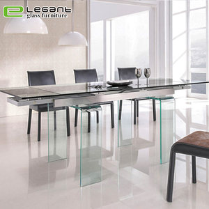 Restaurant furniture hot-bending extendable glass dining table